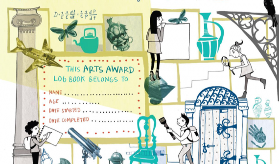 Discover the Oxford university Museums and collections- Design for Arts Award Log Book with illustrations of people exploring a museum with artefacts from natural history, art and science collections including roman pots, a telascope, shells, butterflies and a helmet.