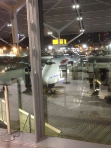large plane sits outside window at airport