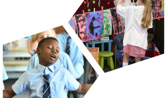 Two photgraphs in the shape of Pentagons, one of a child singing with his eyes closed and arms outstretched, the other with a girl hanging a screenprint to dry on a classroom washing line