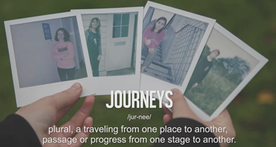 Person's hands holding four polaroid photos of four young people with the definition of the word journeys written across the hands 'Journeys/ jur-nee/ plural, a travelling from one place to another,/ passage of progress from one stage to another.