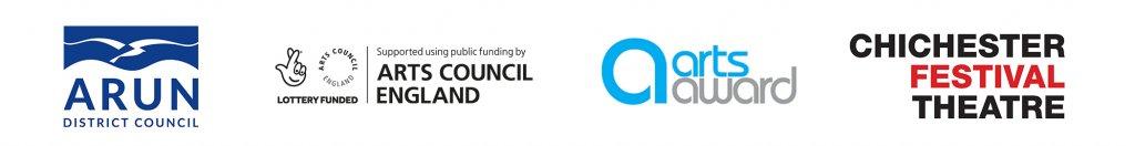 Arun District Council Logo, Arts Council England logo, Arts award logo, Chichester Festival Theatre logo.