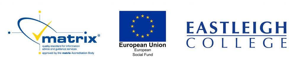 Matrix Logo, European Union Social Fund Logo, Eastleigh College logo