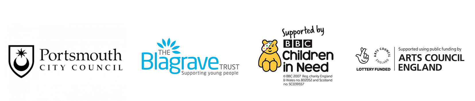 Portsmouth City Council Logo, The Blagrave Trust logo, BBC Children in Need logo, Arts Council England logo