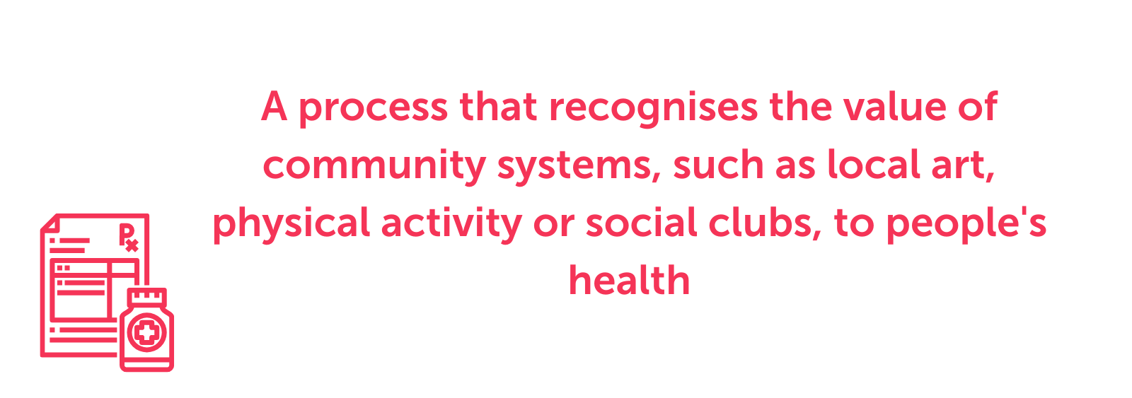 A process that recognises the value of community systems, such as local art, physical activity or social clubs, to people's health