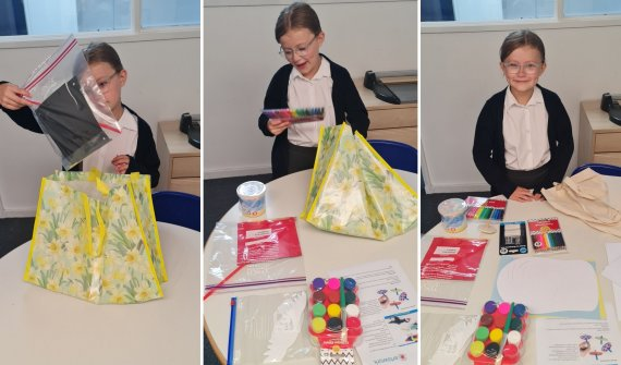 Grid of three images of a child unpacking a bag of arts and craft materials