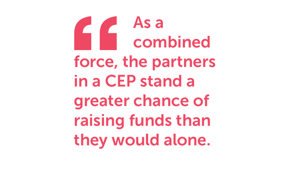 As a combined force, the partners in a CEP stand a greater chance of raising funds than they would alone.